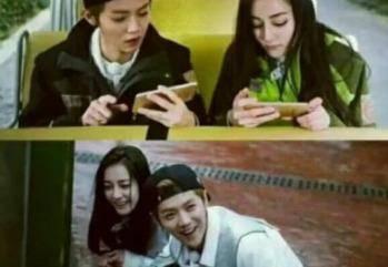 网友在微博发出的一组照片里,鹿晗和迪丽热巴都手机横屏,一副正在玩
