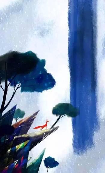 一个少女的手绘插画:奇幻森林,美轮美奂